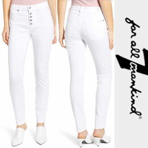 7 FOR ALL MANKIND exposed button fly skinny jeans